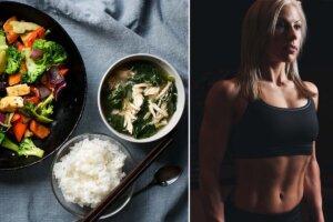 essen und frau mit muskeln
