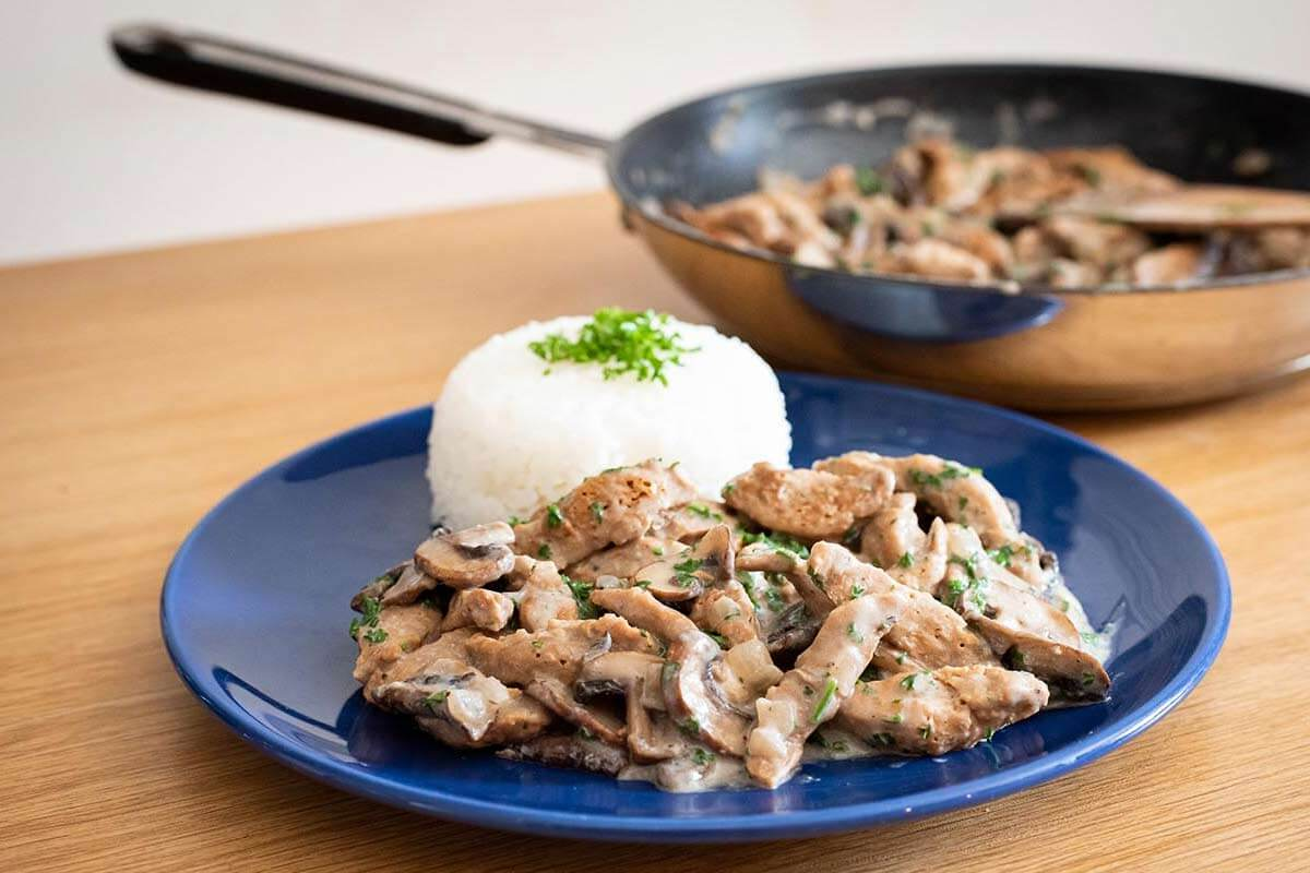 Soja-Geschnetzeltes mit Champignons   Veganes Rezept