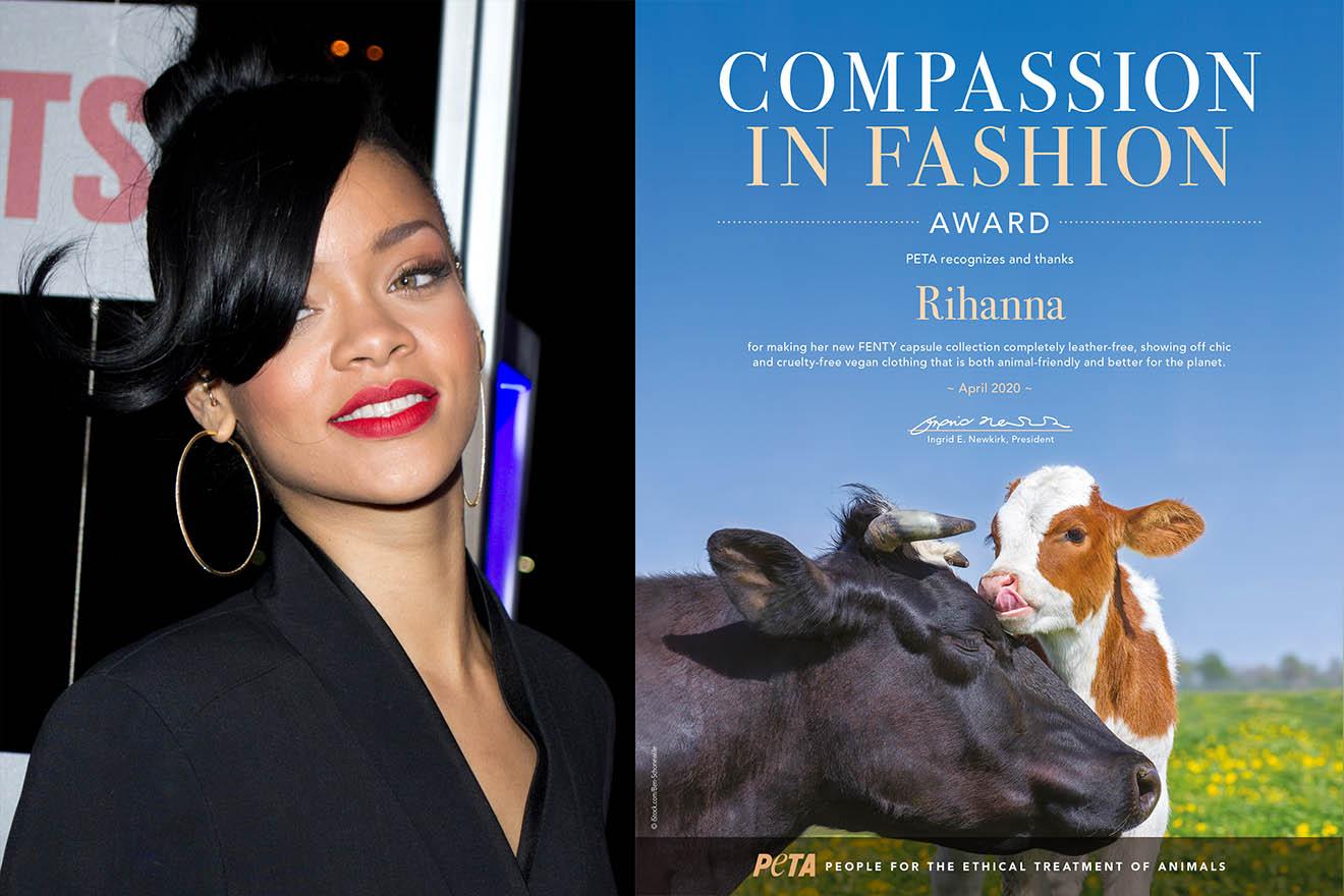 Rihanna erhält für ihre Kunstleder-Kollektion einen Fashion-Award von PETA USA
