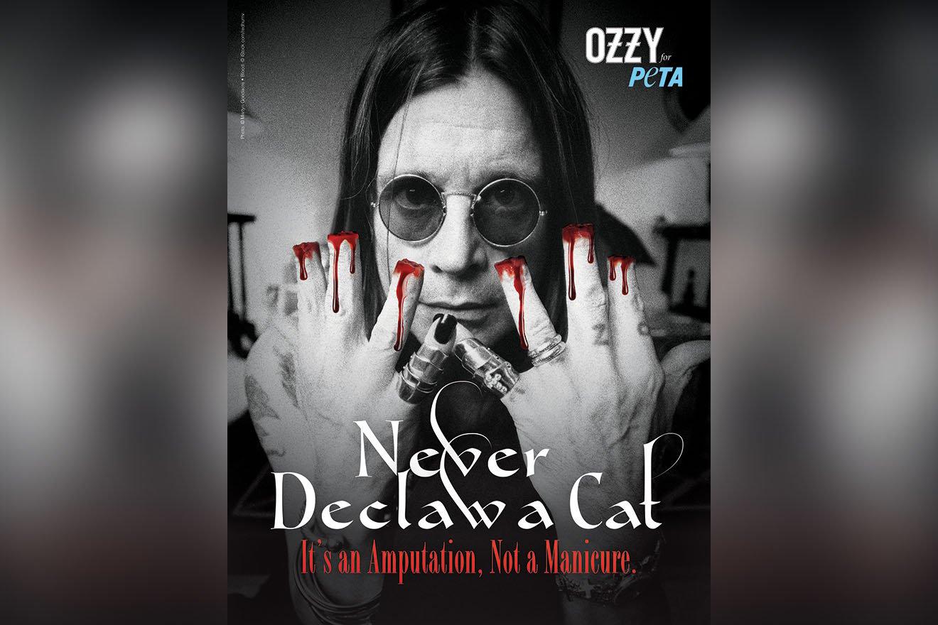 Ozzy Osbourne mit blutigen Händen in seinem ersten PETA-Motiv