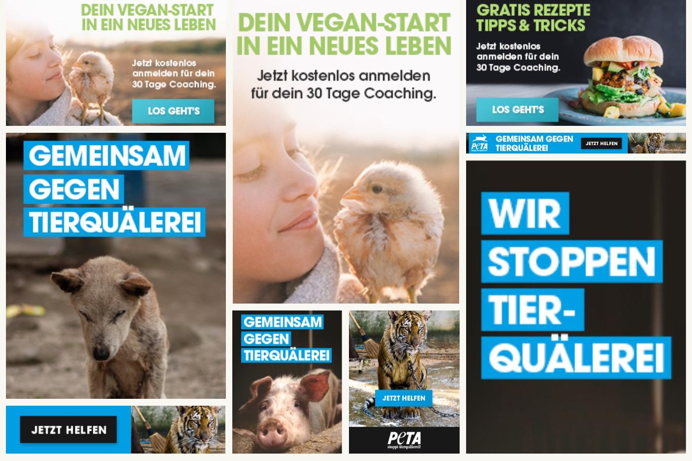 PETA Online-Banner – Helfen Sie den Tieren mit Ihrer Website