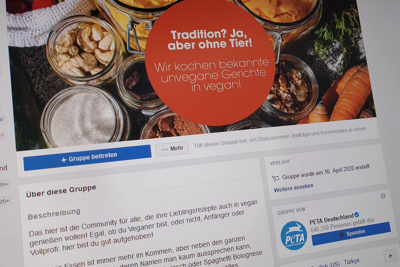 """Neue Facebook-Gruppe von PETA: """"Rezepte in vegan – einfach Rezepte veganisieren"""""""