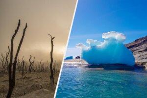 Collage abgebrannter Wald und Eisscholle