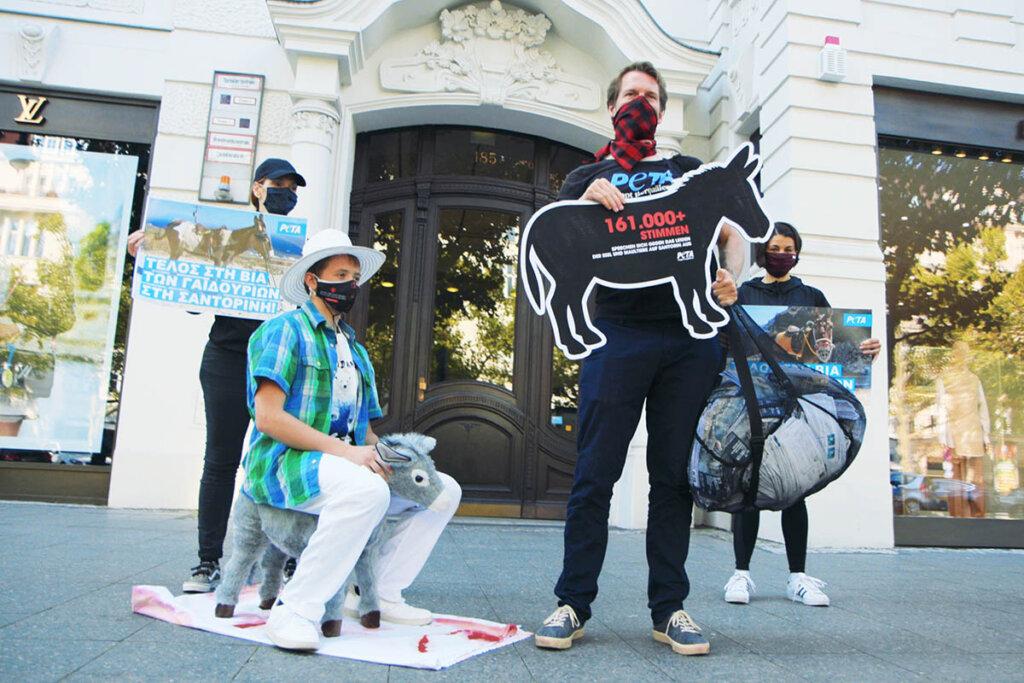 Demonstration gegen Eselreiten in Santorin