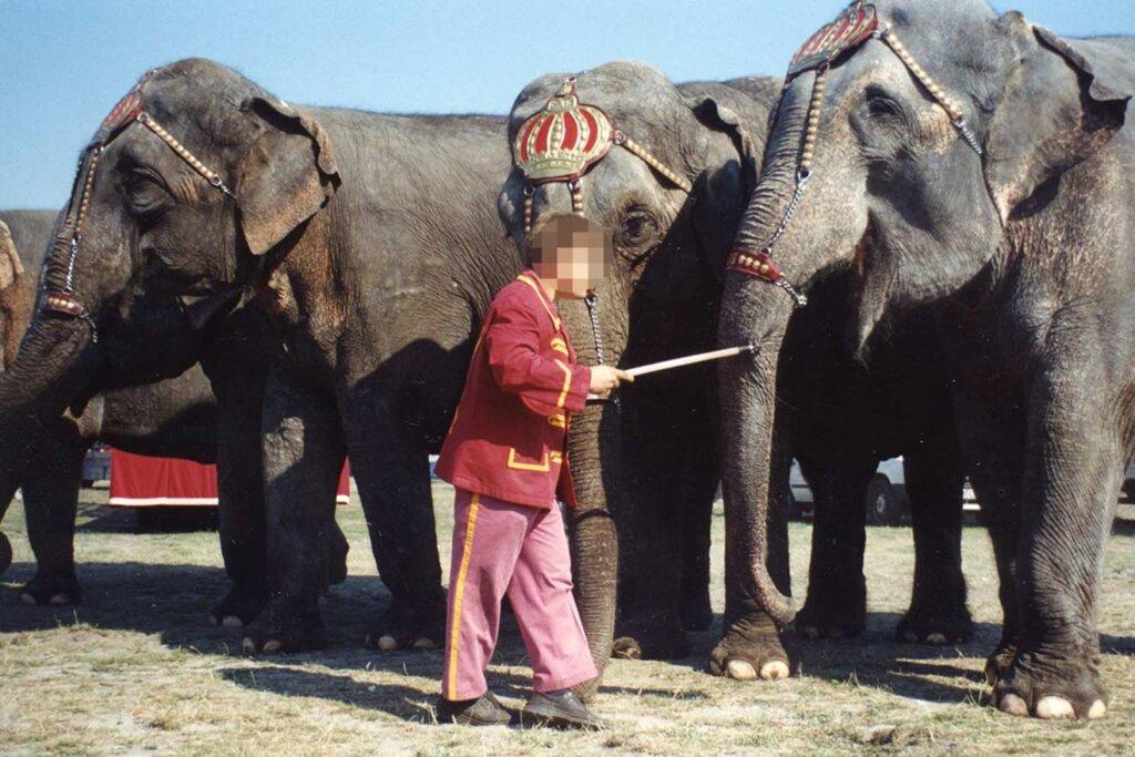 Zirkus Mitarbeiter mit Elefantenhaken