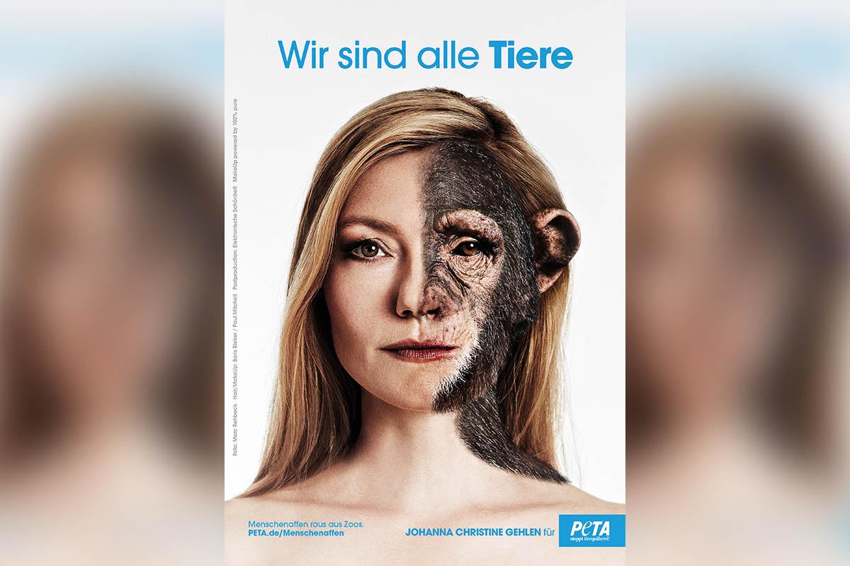"""Johanna Christine Gehlen für PETA: """"Menschenaffen raus aus Zoos!"""""""
