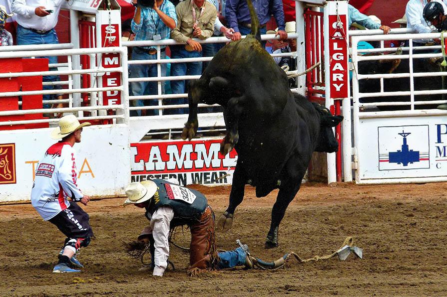 Bullenreiten beim Rodeo