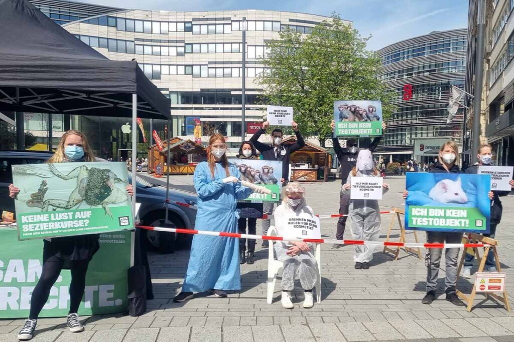 Streetteam Aktion gegen Tierversuche