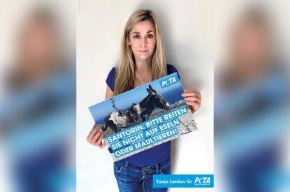 PETA Kampagne Tanja Lanäus für Santorin Esel