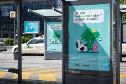 Veganstart Plakatwerbung Bushaltestelle Berlin