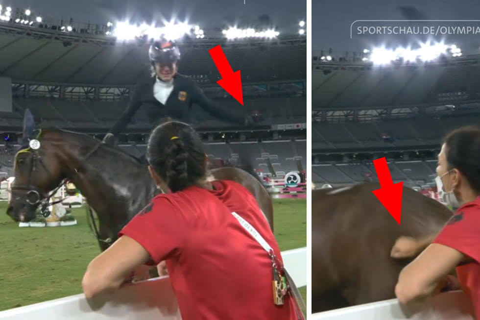 Reiterin schlaegt Pferd bei Olympia
