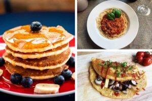 pancakes und spaghetti und omellett