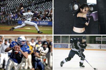 verschiedene menschen machen sport