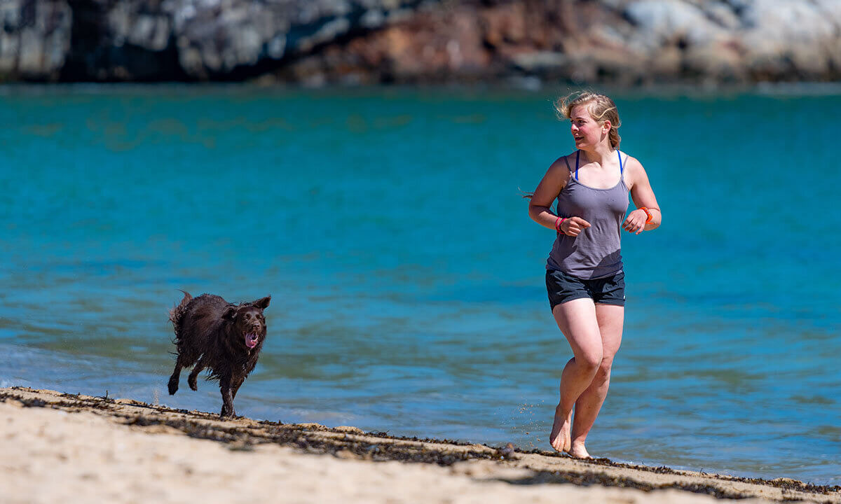 frau rennt mit dem hund am strand